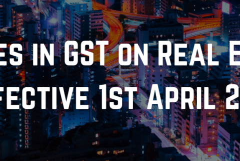 Changes in GST on Real Estate, effective 1st April 2019